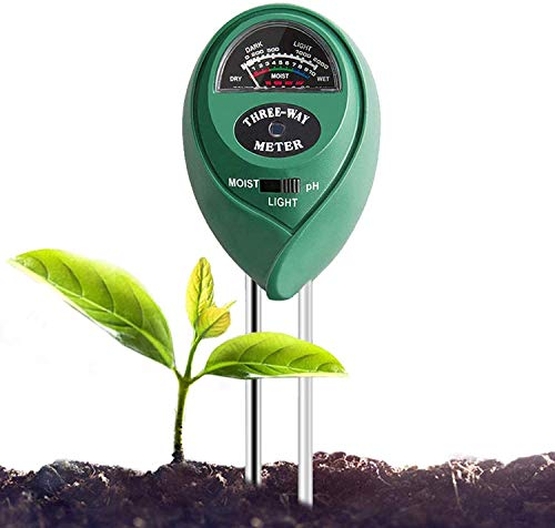 Soil Tester 3-in-1 Plant Moisture Meter Light and PH Tester for Home, Garden, Lawn, Farm, Indoor and Outdoor Use, Promote Plants Healthy Growth, Easy Read Indicator (No Battery Needed) (L-Double needle)