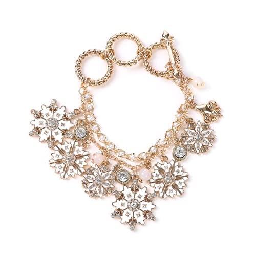 XIGAWAY 1 pulsera con colgante de diamantes de copo de nieve para mujer, ideal para regalo
