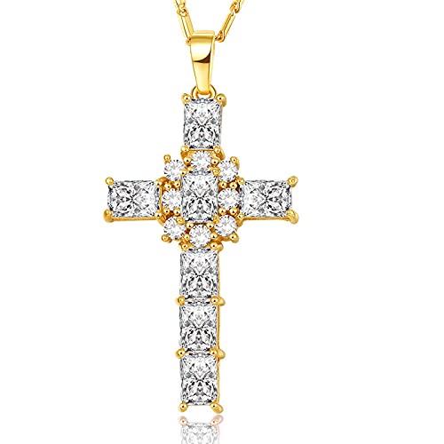 Collar de cristal cruzado Joyería de mujer Regalo Venta al por mayor Plata / Color dorado Lujo Rosa / Claro Zirconia cúbica Colgante & Amp; Cadena