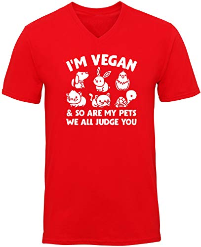 Hippowarehouse Im Vegan and so are My Pets we All Judge You Unisex V-Neck Short Sleeve t-Shirt (Specific Size Guide in Description) Red