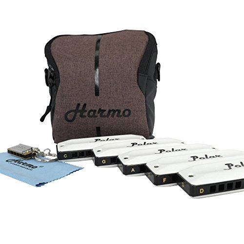 Harmo Polar Set of 5 Harmonicas Key of C D F G A with Gig Bag and Mini Harmonica