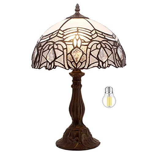 Tiffany Lamp Table White Stained Glass Bedside Lamp Living Room Bedroom Luxurious Desk Reading Light 18' Tall Coffee Bar Library Banker Memory Sympathy Vintage Victorian WERFACTORY LED Bulb Included