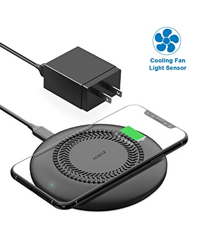 Wireless Charging Pad, AIDEAZ 10W Fast QI Wireless Charger with Internal Cooling Fan Compatible iPhone11/11 Pro MAX/XS Max/XR/X/Airpod 2/Airpod Pro, Samsung S10/S10 Plus/S10e/S9, Includes AC Adapter