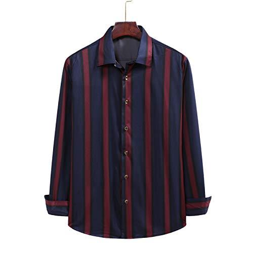 Camisa de Manga Larga con Solapa Retro para Hombre, Ropa de Calle con Bloques de Color a Rayas, Camisas básicas Simples, cómodas y Finas XL