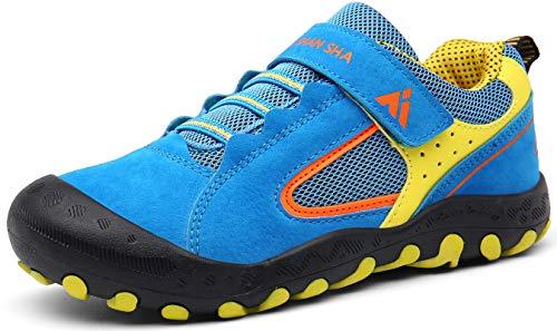 Mishansha Trekkingschuhe Kinder rutschfest Wanderschuhe Mädchen Jungen Laufschuhe mit Klettverschluss Blau Gr.28