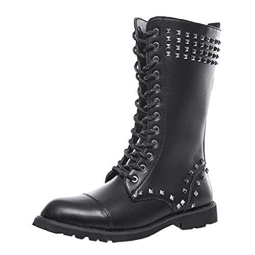 Herren Schuhe Kolylong Männer Winter Hohe Röhre PU Leder Stiefel mit Nieten Mode Nieten Schnüren Stiefel mit Seitlichem Reißverschluss Freizeitstiefel Schuhe Punk-Stiefel Wanderstiefel Reitstiefel