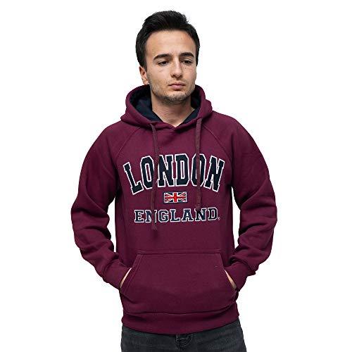 London Souvenirs Sudaderas con capucha para hombre, tela de algodón de gran calidad, recuerdo oficial de Londres Rojo rojo (Maroon) S