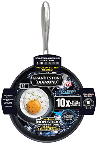 """GRANITESTONE 2146 Nonstick Frypan, No-warp, Dishwasher-safe, Oven-safe, Mineral-enforced Frying Pans 100% PFOA-Free with Stay Cool Handle As Seen On TV, Black – 12"""""""