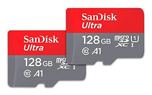 SanDisk Pack de 2 tarjetas Ultra microSDXC de 128 GB - Hasta 120 MB/s, Adaptador SD, Rendimiento de apps A1, Clase 10, U1