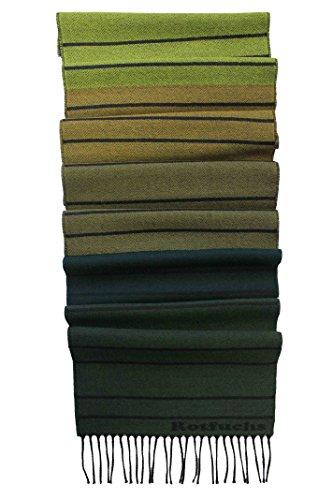 Rotfuchs Echarpe tissée à rayures à la mode verte 100% laine (Mérinos)