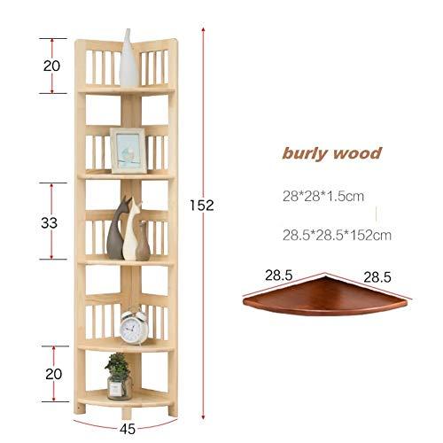 CCLLA Eckregal aus Massivholz, Landed Eckregal Eckregal Wohnzimmer Schlafzimmer Lagerung Bücherregal Eckregal-A 28,5 x 28,5 x 152 cm (11 x 11 x 60)