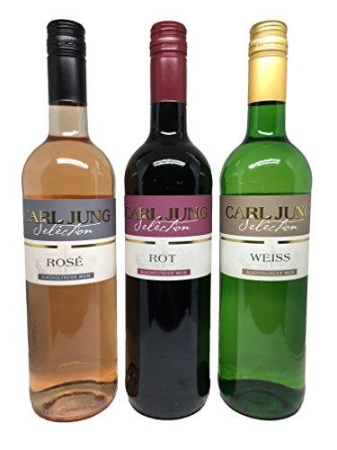 Carl Jung Selection - Weinpaket mit alkoholfreiem Wein (3x0,75l) - Roséwein, Rotwein, Weisswein - Rosé, Rot, Weiss - ohne Alkohol