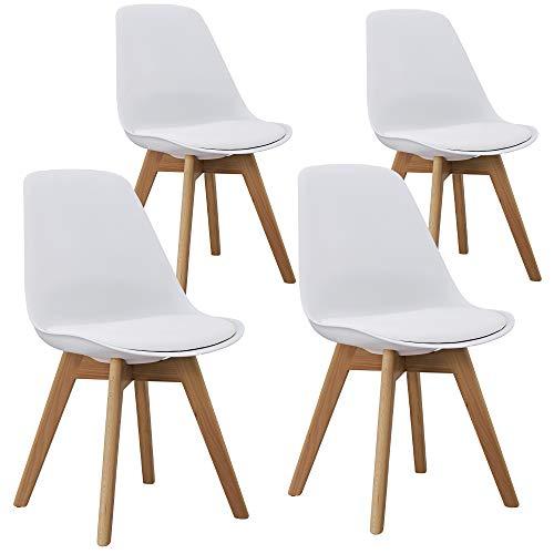Orville Milou Designer Stuhl Weiß | robust & Leichter Aufbau | Ideale Esszimmerstühle, Stühle Esszimmer, Esszimmerstühle 4er-Set, Esstisch Chair, Küchenstühle, Essstühle, Esszimmerstuhl, Schalenstuhl