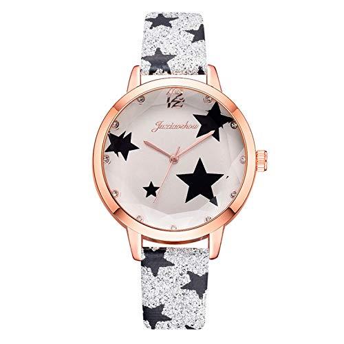 JZDH Relojes para Mujer Mujeres Relojes Pulsera Set Solid Ladies Pulsera Reloj Casual Cuero Cuarzo Reloj de Pulsera Reloj Regalos Relojes Decorativos Casuales para Niñas Damas (Color : Coffee)