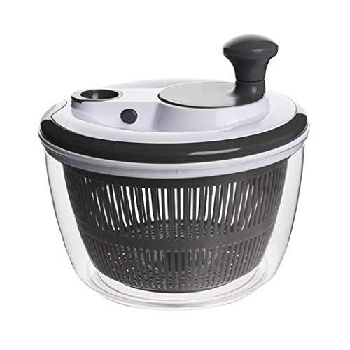 Salatschleuder mit großem [5L] Fassungsvermögen, Optimaler Salattrockner mit Ablaufsieb, Einfaches Bedienen durch Drehen der Kurbel,Schwarz