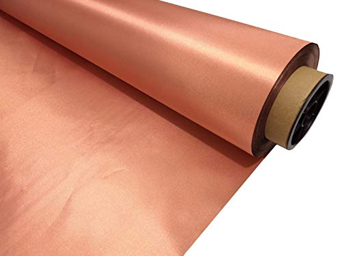 Copper Fabric Blocking RFID/RF-Reduce EMF/EMI Protection Conductive Fabric for Smart Meters Prevent from Radiation/Singal/WiFi Golden Color (50 Meters Long)