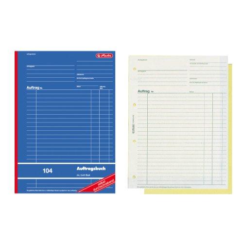 Herlitz 880427 Auftragsbuch A4 104 2x40 Blatt selbstdurchschreibend holzfrei