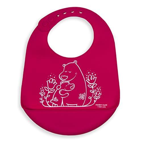 Modern-twist Bucket Bib 100% plastic free silicone, waterproof, adjustable, dishwasher safe, Pink Bears