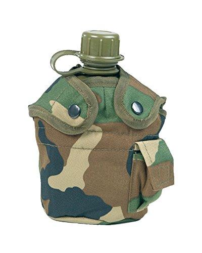 Mil-Tec Us Bouteille de champs en plastique avec sac inclus Tasse en aluminium Woodland Multicolore 22 x 11,5 x 8,5 cm