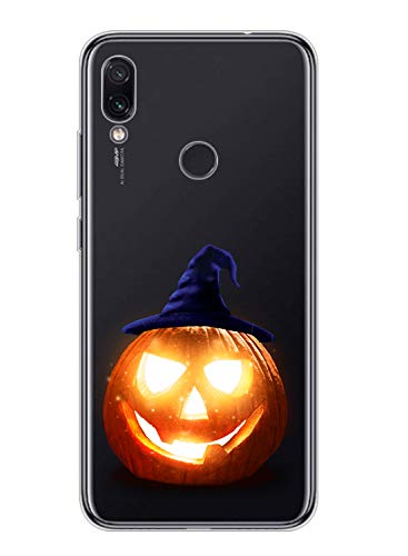 Oihxse Compatible pour Samsung Galaxy A20E Coque Silicone Ultra Mince TPU Souple Transparent Housse Citrouille Mignon Motif Protection Etui Anti-Scratch Bumper Cristal Case (Citrouille lumière)