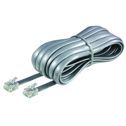 Softalk 46625 Phone Line Cord 25-Feet Silver Landline Telephone Accessory, 25 Foot