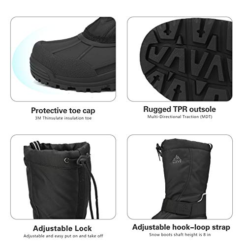 NORTIV 8 Men's Waterproof Hiking Winter Snow Boots Insulated Fur Liner Lightweight Outdoor Tall Booties Black 10 M US Quebec-M