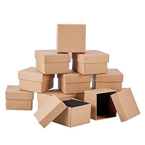 Cheriswelry Lot de 24 boîtes à bijoux carrées en carton kraft pour bagues de vente au détail de cadeaux pour fête de mariage 5 x 5 x 4 cm
