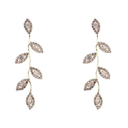 Pendientes De Gota De Mujer - Pendientes Colgantes Colgantes De Hojas De Diamantes De Imitación, Diseño Único Pendiente De Gota De Cristal Con Borla Larga Para Mujer Accesorios De Regalos De Joye