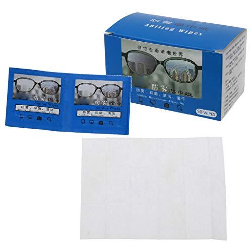 Leiouser 50 toallitas antivaho para gafas prehumedecidas, antivaho, toallitas desechables para gafas
