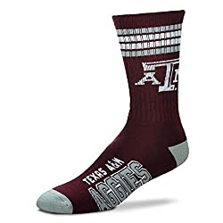 For Bare Feet Mens NCAA 4 Stripe Deuce Crew Socks, Texas A&M Aggies, Large