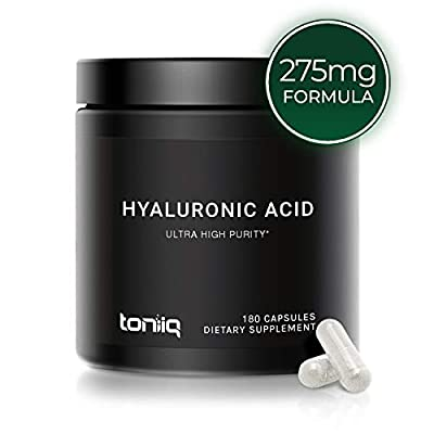 Ultra High Purity Hyaluronic Acid Capsules - 275mg Formula - Non-GMO Fermentation - High Strength with Vitamin C - 180 Capsules