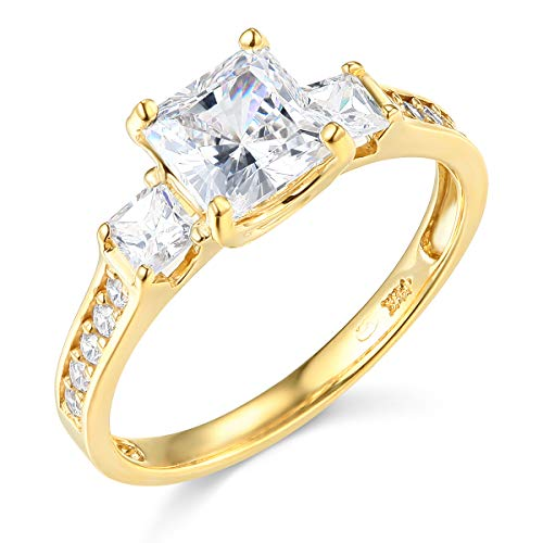 14k Solid Yellow Gold 1.75 Ct. 3 Stone Princess Cut Engagement Ring Band - Size 5