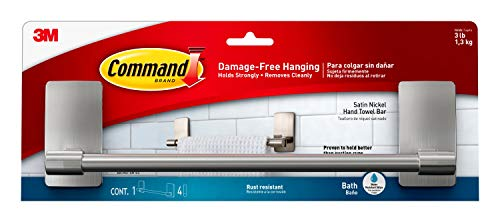 Command 9' Hand Towel Bar, Satin Nickel, Holds 3 lbs, 1 Bar, 4 Strips, BATH41-SN-ES
