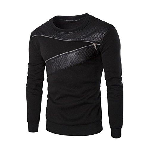Sudaderas Hombres,Xinan Splicing Chaqueta de Cuero PU Camiseta de Deporte
