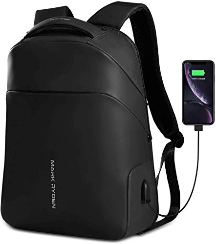 MARK RYDEN Anti-Theft Laptop Backpack,15.6 Inch Business Backpack with USB Charging Port, Waterproof Large Compartment School Travel Pack Men Women for Work,Travel,Hiking, Black