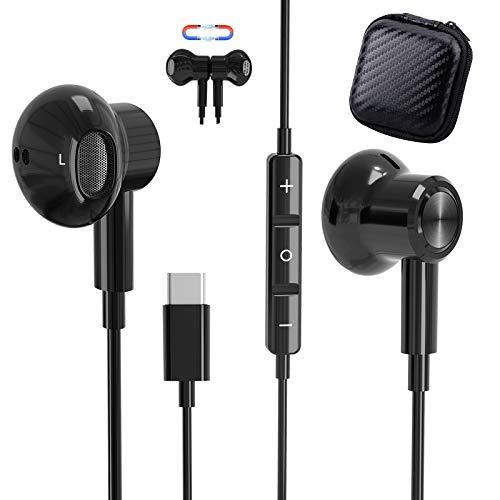 Auricolari USB C, TUBhanggai Tipo C In-Ear Hi-Fi Stereo Cuffie, Tipo C Auricolari cablati con microfono e controllo del volume per Google Pixel 5/4/3 XL Samsung S21 Ultra S20 Note 20 OnePlus 8T/7T Pro