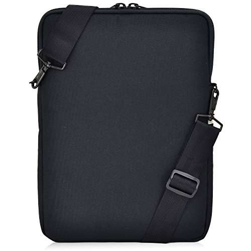 Turtleback Universal Laptop and iPad Pro 12.9 Pouch Bag with Shoulder Strap - Fits Devices up to 13' Inch - (Black), Made in USA