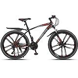 WPW Bicicleta de Montaña 24 Velocidades 26 Pulgadas 3 Ruedas de Radios Bicicleta de Doble Suspensión, 10 Ruedas de Corte (Color : 21-Speed Red, Talla : 24inches)
