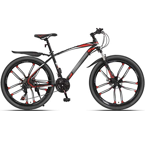 Mountain Bike 24 Speed 26 Inches 3 Spoke Wheels Dual Suspension Bicycle,10 Cutter Wheels (Color : 24-speed red, Size : 26inches)