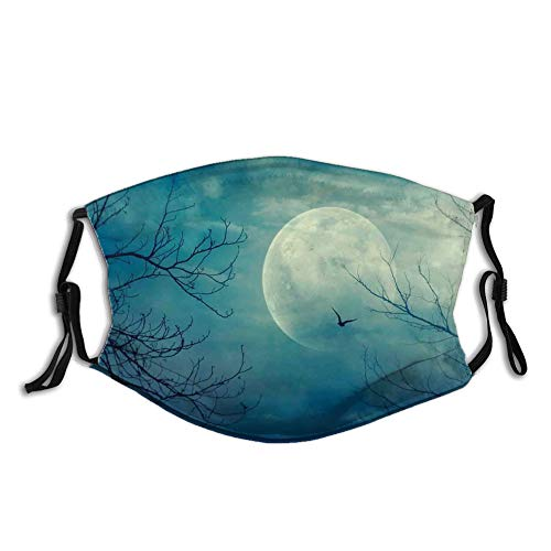 Halloween with Full Moon in Sky and Dead Tree Branches Evil Haunted Forest Print,WiederverwendbareBaumwolleGesichtAntiStaubGesichtMundAbdeckung