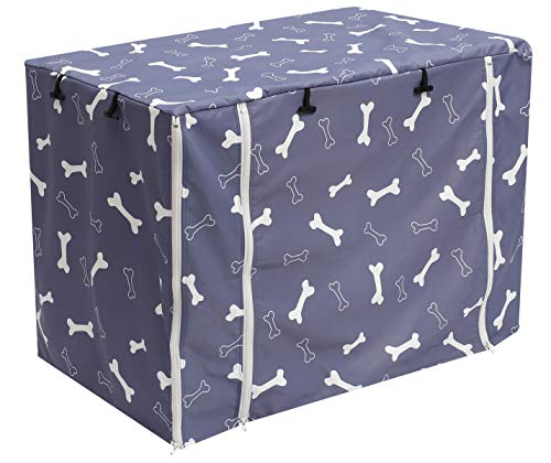 Dog Crate Cover for Wire Crates, Kennel Cover, Heavy Nylon Durable Waterproof Windproof Pet Kennel Cover Indoor Outdoor Protection - Cover only - GrayBone - L Categories