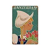 Amsterdam Visit Europe Cartel De Chapa De Metal Vintage 20*30 cm Novedad DecoracióN Retro Regalo Hogar Cocina Bar Café Garaje DecoracióN De Pared Estilo