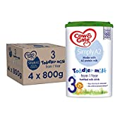 Cow & Gate Simply A2 3 Toddler Baby Milk Powder Formula From 1 year, 800 g, Pack of 4