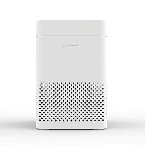 Turbionaire E20AT purificador de aire, T-Performance filter: HEPA 13, carbón activo, filtración 99.97%; aromaterapia, luz ambiental, aviso cambio filtro, eficaz para humos, alergias, olores, pollos