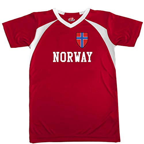 Customized Norway Soccer Jersey Youth Small in Scarlet Red and White