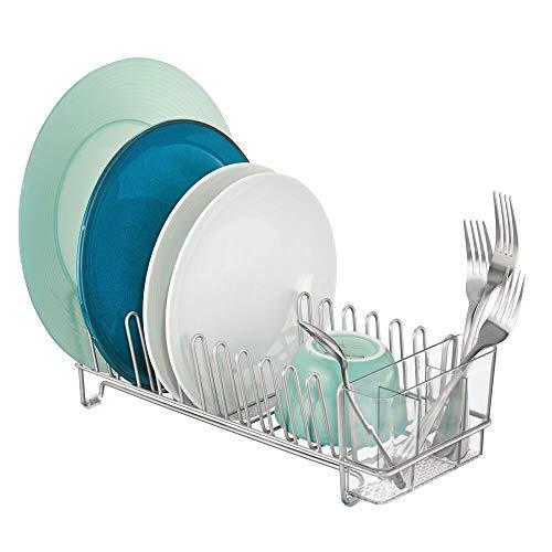 mDesign Escurridor de vajilla de metal – Rejilla escurreplatos para la encimera o el fregadero – Con cubertero de 3 compartimentos de plástico – plateado y transparente
