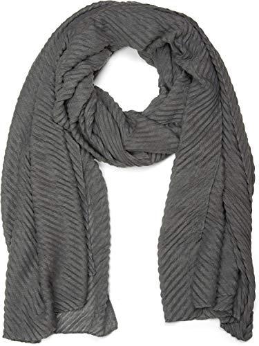 styleBREAKER gekreppter unifarbener Schal, Crash and Crinkle, Tuch, Damen 01016107, Farbe:Dunkelgrau