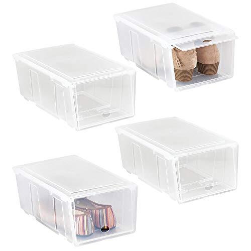 mDesign Juego de 4 cajas para zapatos pequeñas de plástico – Cajas apilables con tapa abatible – Prácticas cajas organizadoras para armarios o estanterías – transparente mate