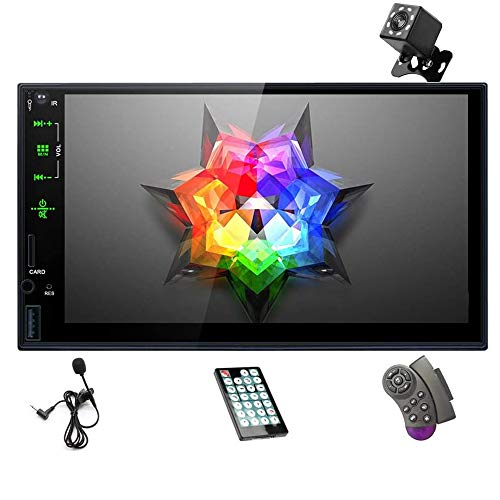Universal Double Din Car Stereo with Bluetooth 7'' Touch Screen Car MP5 Player Car Radio Support Subwoofer/AUX/Mirror Link/SWC/USB/TF/FM + Microphone + Remote Control + Backup Camera