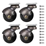 Ball Caster Wheels 360 Degree Antique Brass Top Plate Casters with 1 Pack Nail Antique Smooth Caster Furniture Ball Caster Wheel for Chairs Sofa Table Leg (Without Brake Lock)